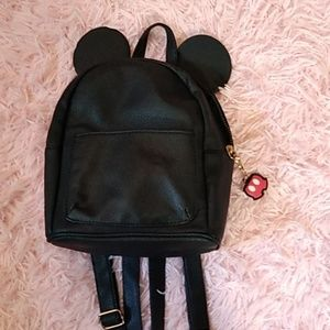Black faux leather Mickey mouse ear mini backpack